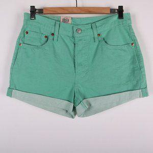 LEVI'S 501 Non Stretch Mid Rise Green Denim Short